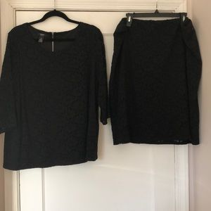 Alfani 2 piece black blouse and skirt